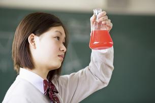 フラスコを眺めている女子学生の写真素材 [FYI01317661]