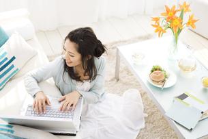 ソファに乗せたパソコンを見ている女性の写真素材 [FYI01319921]