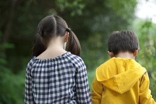 子供2人の後姿の写真素材 [FYI01320354]