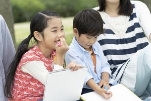 公園で絵を描く姉弟の写真素材 [FYI01320608]