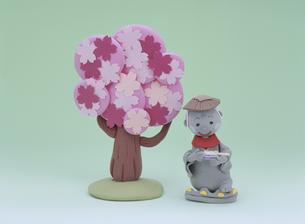桜の前で団子を持つお地蔵さんの写真素材 [FYI01322490]