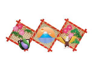 富士山と鷹となすの縁起物の写真素材 [FYI01323395]