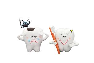 歯と歯ブラシと虫歯の写真素材 [FYI01323427]