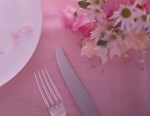 花束 テーブルセッティングの写真素材 [FYI01323630]