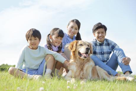 犬と芝生に座る4人家族の写真素材 [FYI01325060]
