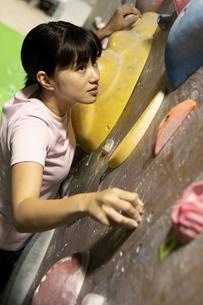 ボルダリングをする女性の写真素材 [FYI01326526]