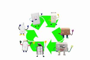 リサイクルマークとリサイクル品の写真素材 [FYI01327782]
