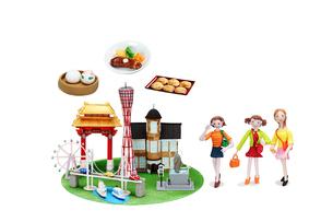 観光地 神戸とご当地名物と女子友達の写真素材 [FYI01327799]