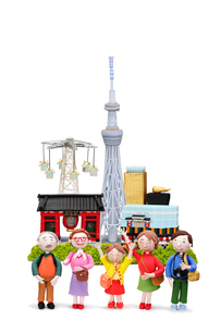スカイツリーと浅草の観光地と家族の写真素材 [FYI01328618]