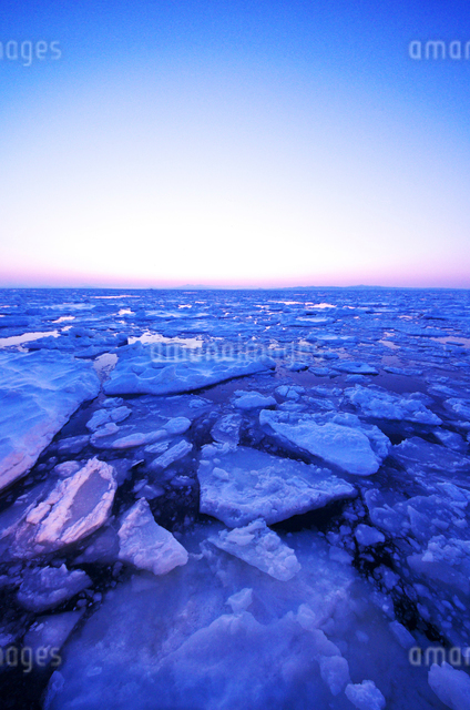 朝の海と流氷の写真素材 [FYI01328866]