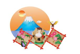 だるまの午と富士山の縁起物の写真素材 [FYI01328884]