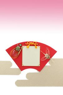水引の鶴と亀と扇型の色紙の写真素材 [FYI01330741]