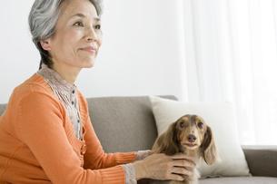 ソファで犬と戯れるシニア女性の写真素材 [FYI01333061]