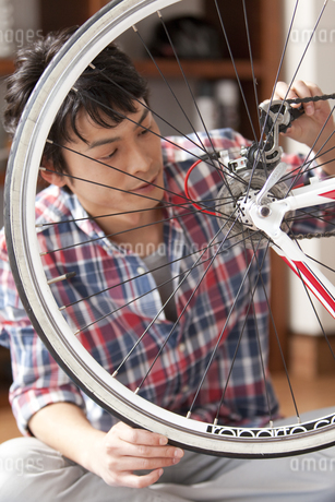 自転車の手入れをする男性の写真素材 [FYI01333426]