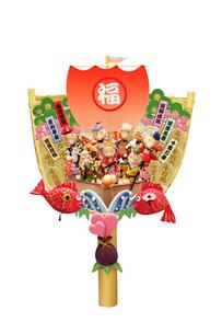 亥の七福神と宝船の箕の飾りの写真素材 [FYI01334234]
