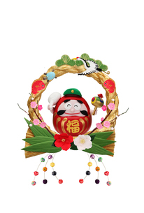 金の正月リースと大黒さんのだるまの写真素材 [FYI01334283]