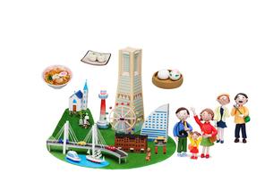 観光地クラフト 横浜とご当地名物と三世代家族の写真素材 [FYI01334778]