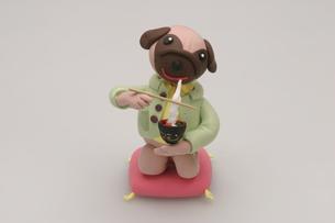 雑煮を食べる犬の写真素材 [FYI01336379]