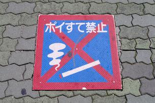 歩道の標識 ポイすて禁止の写真素材 [FYI01340062]