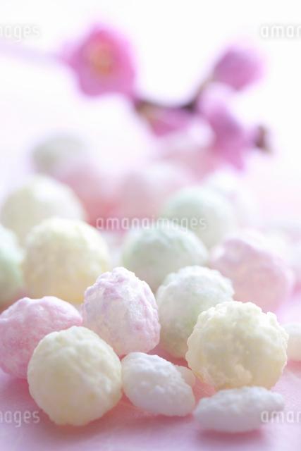 桃の花と雛あられの写真素材 [FYI01340379]