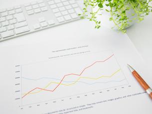 グラフ資料とペンと観葉植物とキーボードが乗ったビジネスデスクの写真素材 [FYI01341492]