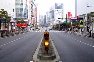 中央分離帯と道路 新宿駅西口近くの写真素材 [FYI01342411]