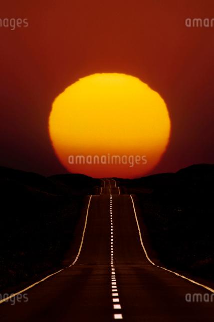 太陽と一本道の写真素材 [FYI01343683]