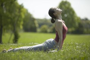 芝生の上でヨガをする女性の写真素材 [FYI01346730]