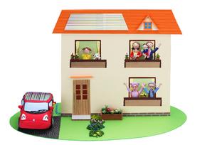 太陽発電の2世帯住宅と電気自動車の写真素材 [FYI01346758]