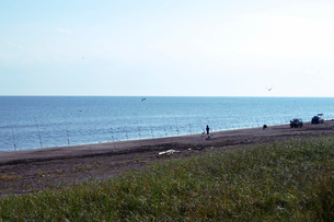 オホーツク海のサケ釣りの写真素材 [FYI01347614]