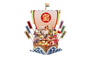 ねずみの七福神と宝船のイラスト素材 [FYI01349980]