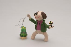 こま回しをする犬の写真素材 [FYI01350336]