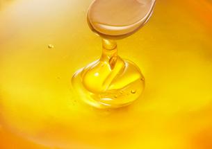 スプーンから垂れる蜂蜜の写真素材 [FYI01353061]