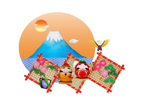 だるまの恵比寿さんと大黒さんと富士山の縁起物の写真素材 [FYI01353076]