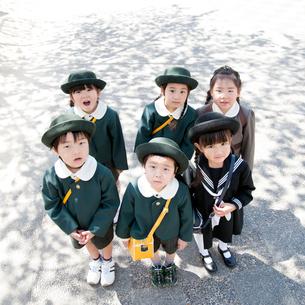 見上げる6人の幼稚園児の写真素材 [FYI01353727]