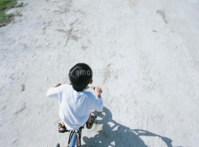 自転車に乗る日本人の男の子の写真素材 [FYI01356267]