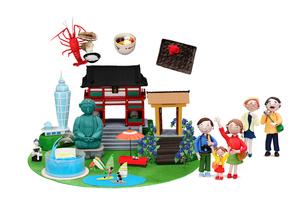 観光地クラフト 鎌倉・江の島とご当地名物と家族の写真素材 [FYI01356935]