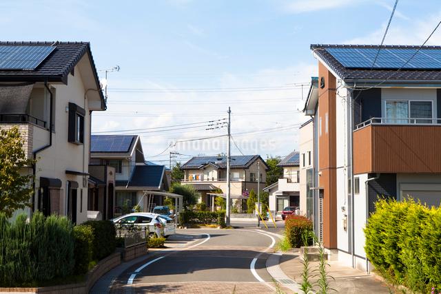 ソーラーパネルの付いた住宅地の写真素材 [FYI01357775]