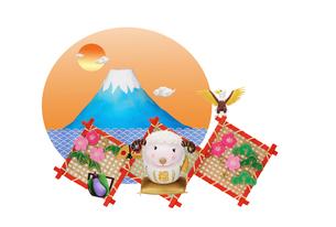 富士山と未のだるまと縁起物の竹飾りの写真素材 [FYI01359969]