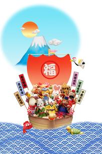 戌の七福神と宝船の写真素材 [FYI01362113]