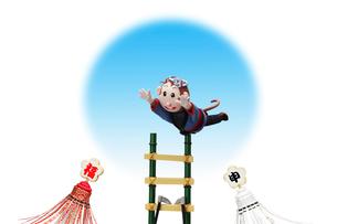 はしごで演技をする申の写真素材 [FYI01362626]
