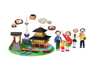 観光地クラフト 京都とご当地名物と三世代家族の写真素材 [FYI01363426]