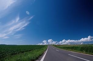 空 雲 道 野原の写真素材 [FYI01363524]