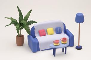 青いソファーの写真素材 [FYI01363792]