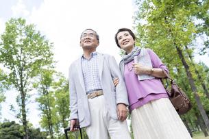 公園を歩くシニア夫婦の写真素材 [FYI01363806]