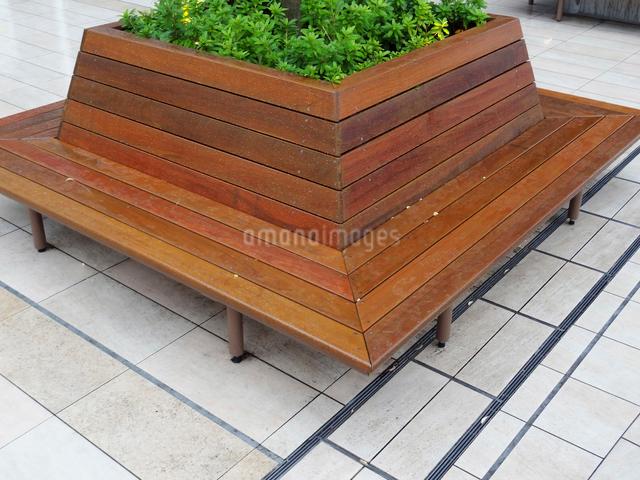 雨に濡れた木製のベンチの写真素材 [FYI01364488]
