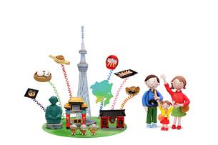 関東の観光地とご当地名物と家族の写真素材 [FYI01365120]