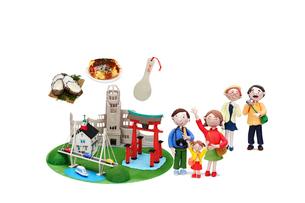 広島の観光地とご当地名物と家族の写真素材 [FYI01365390]