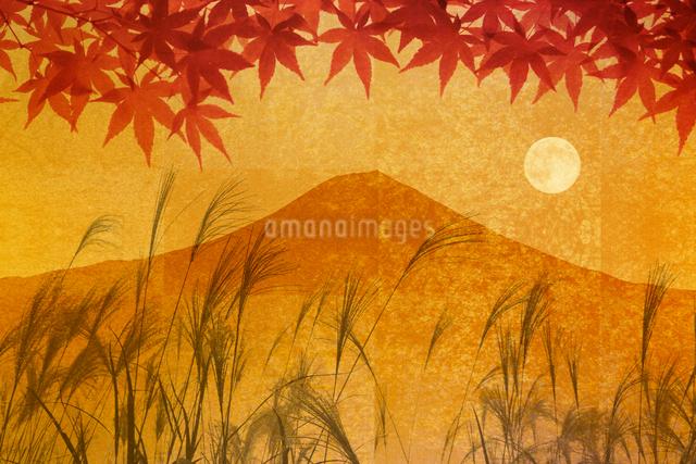 金屏風の富士山と紅葉と満月のイラスト素材 [FYI01366300]
