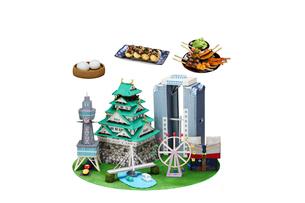 観光地クラフト 大阪とご当地名物の写真素材 [FYI01366683]